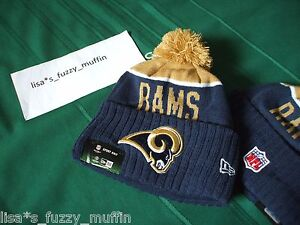 St. Louis L.A. Rams New Era knit pom hat beanie NEW Tags On Field AUTHENTIC 2015