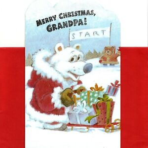 Merry Christmas Grandpa Dogs Dog Sled Full Of Presents Greeting Card