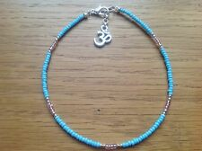 Turquoise Pink Glass Seed Bead Ohm Om Charm Anklet/Ankle Bracelet 10.5""