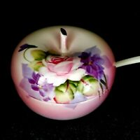 VINTAGE LEFTON CHINA HAND PAINTED APPLE SHAPED SUGAR BOWL CABBAGE ROSE FLORAL