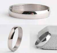 4mm Silver Plated Mens & Womens Wedding Band - New Unisex Ring - Sizes L to S