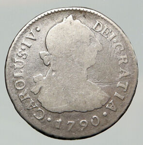 1790 IJ PERU South America KING CHARLES IV Silver Peruvian 2 Reales Coin i92012