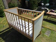 MID CENTURY BABIES DROP SIZE SPRUNG CRIB/COT WITH DECALS AND RATTLES IN VGC NICE