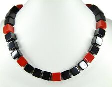 Gorgeous precious stone necklace in Carnelian and Onyx Cube Shape -onx34k-502