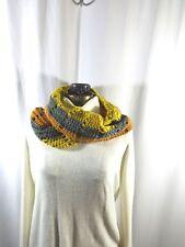 "Infinity Scarf Handmade Crochet Rust Gray Chartreuse 60"" Around x 5"" wide"