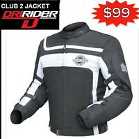 Dririder CLUB 2 Motorcycle Jacket Retro NEW! Black White rrp$199 Motorbike Road