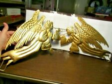 """2 Pressed Metal Angels Gold With Gold Leaf - 18"""" Long - Christmas Decorations"""