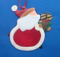 "Christmas ornament 5"" metal hand painted Santa Claus with gift"