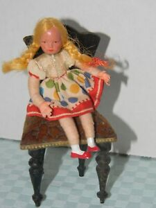 """Caco Vintage Dollhouse 3 1/4"""" Sister Girl with braids Metal feet and hands"""