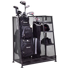Goplus Dual Golf Organizer Storage Rack Fit 1-2 Golf Bags Clubs Accessories New