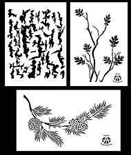 "3Pack! Spray Paint Camouflage Stencils 14"" Tree Bark - Oak Branch - Pine Branch"