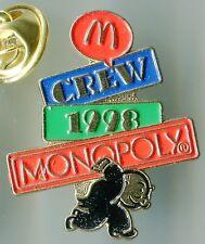 McDONALD'S CREW 1998 MONOPOLY PIN PINBACK ÉPINGLETTE