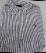 Bluse - Ralph Lauren custom fit - Oxford - Gr. 42 L grau-weiß - Neuware