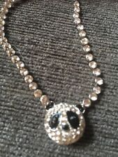 Butler and Wilson Panda Faux Crystal Diamonte Head Pendant Necklace