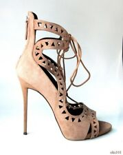new $1145 Giuseppe ZANOTTI Coline 110 taupe suede laser cut shoes 41.5 11.5 -ART