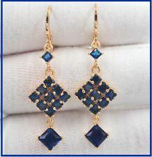 Top Saphir blau Raute Tropfen Ohrringe Gold 18K/750er vergoldet 50mm Top Chic👸