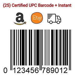 (25) Premium GS1 UPC Amazon Barcodes Number from USA
