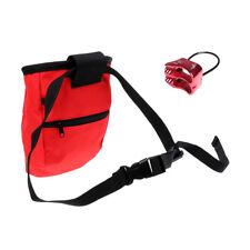 Mountain Rock Climbing Caving Chalk Bag & Safety Belay Device Equipment Gear