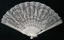 Hand Fan Austria c.1900 Organza Sequin & Carved Bone Sticks w/ Silver Accents