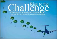 "13""×19"" Inspirational Poster: CHALLENGE Achieve Military Army Skydive School Art"