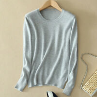 New Womens Round Neck Cashmere Wool Blend Sweater Pullover Knitwear Casual Tops