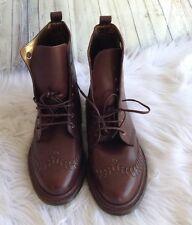 Doc Dr Martens England Reddish Brown 8 Eye Chunky Platform Boots Gold Stitch 9M