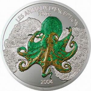 Congo 2004 Octopus 10 Francs Colour Silver Coin,Proof