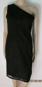 NWT BLACK LACE ONE SHOULDER LINED DRESS SIZE 12 NEXT RRP £38.00