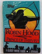 Topps Robin Hood Prince of Thieves 8 Glossy Movie Cards in pack with 1 sticker
