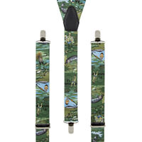 Fishing Angling Novelty Mens Trouser Braces Elastic Suspenders  35mm Wide