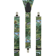 Fishing Angling Hunting Clip On Trouser Braces Elastic Suspenders Handmade in UK