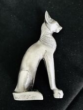 New listing Large 3� Solid Pewter Silver Ancient Egyptian Bastet Cat Goddess Figurine Statue