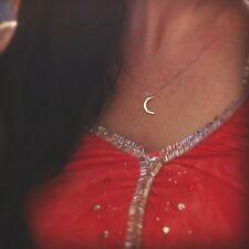 Sterling Silver Crescent Moon Charm Necklace. Perfect for everyday wear.