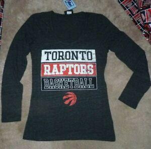 NEW NBA Toronto Raptors Basketball L/S T Shirt Women Tri Blend M Medium NWT
