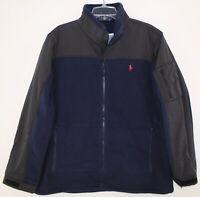 Polo Ralph Lauren Mens Navy Blue Full-Zip Nylon Fleece Jacket NWT $198 Size L