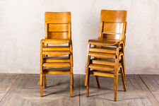 VINTAGE WOODEN SCHOOL CHAIR STACKING PLYWOOD DINING CHAIR CAFE RESTAURANT CHAIRS