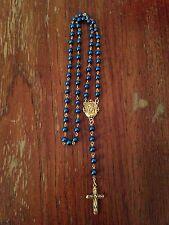 Catholic Peacock Blue Pearl Rosary Beads, Handmade