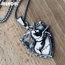 MENDEL Mens Viking Stainless Steel Amulet Horse Unicorn Pendant Necklace Silver