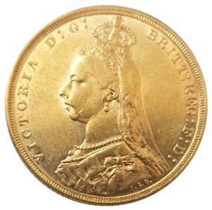 1889-M Queen Victoria Jubilee Head Gold Sovereign (Melbourne)