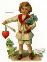 Vintage Victorian die cut paper scrap, Boy with gifts, c. 1880