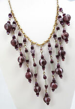 Antique Art Deco Czech Purple & Lilac Art Glass Bead Bib Dangle Necklace