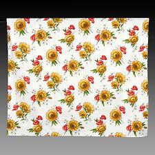 große Tischdecke Weiss mit Mohn-Sonnenblumen, 220x150 100% Baumwolle NEU