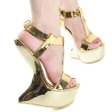 Sexy Womens Wedge Heelless Platform Buckles Peep Toe Sandals Nightclubs Shoes UK