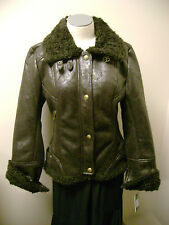 Guess Faux Brown Shearling Jacket L NWT
