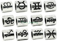 Silver Plated Zodiac Sign Charm Bead Large Hole Slider fits European Bracelet