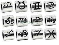 Silver Plated Zodiac Sign Charm Bead Large Hole Slider fits European Bracelet