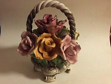 Vintaage Capodimonte 4 footed Basket with Roses and Twisted Handle, Italy