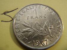 1 franc Semeuse 1967 24mm, 6 gr, nickel