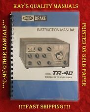 """High Quality, Drake TR-4C Operating Manual w/ 11"""" x 17"""" Foldout Schematic !!"""