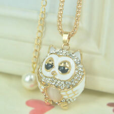 XL New Owl Bead Gold Long Necklace Women Pendant Chain Rhinestone Crystal Gift